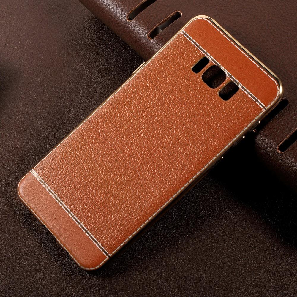 Image of   Samsung Galaxy S8 Plus TPU Cover m. PU læder - Brun