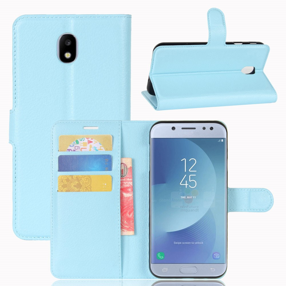 Samsung Galaxy J3 (2017) PU læder Flipcover m. Kortholder - Blå