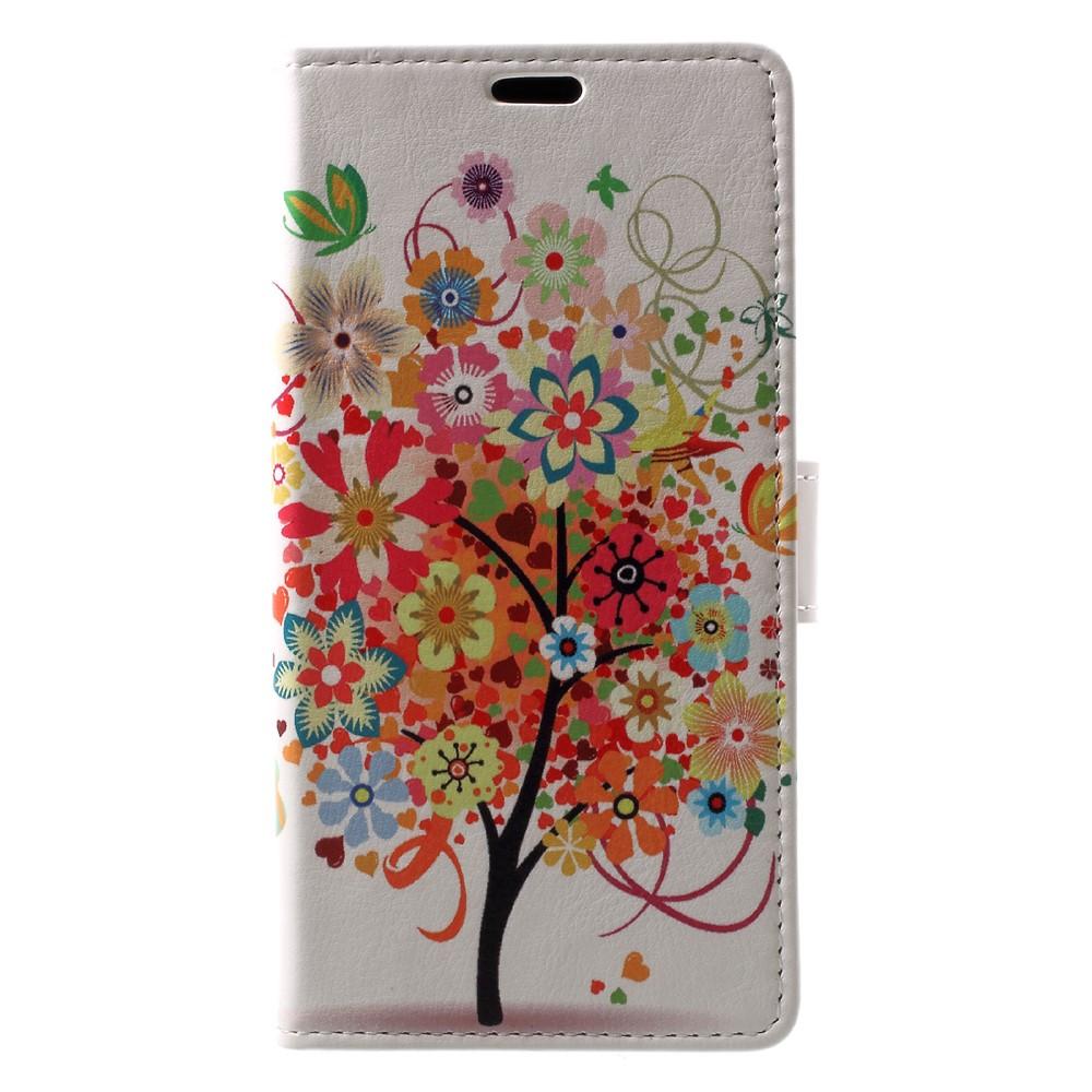 Billede af Sony Xperia XZ1 PU læder Flipcover m. Kortholder - Colorful Flower Tree