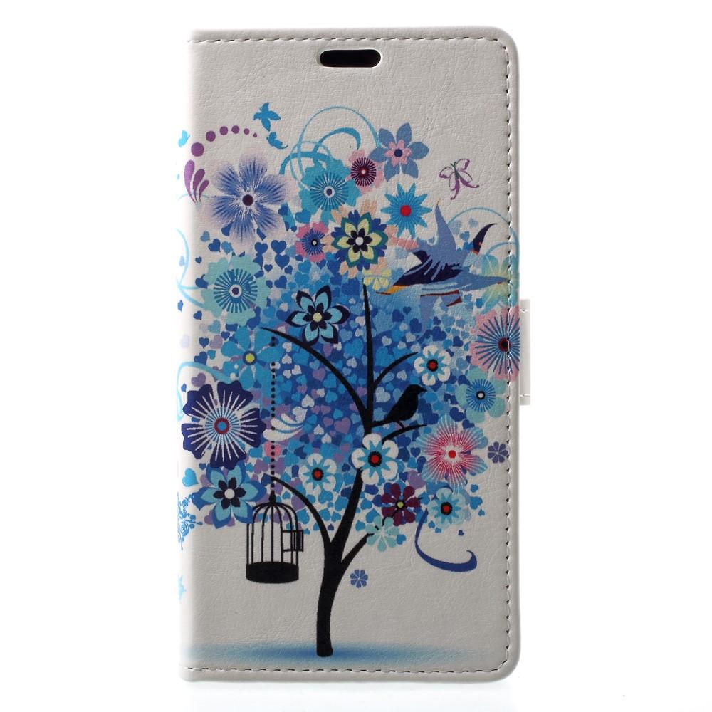Billede af Sony Xperia XZ1 PU læder Flipcover m. Kortholder - Blue Flower Tree