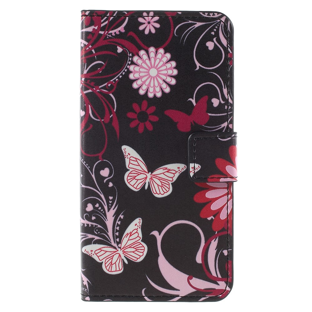 Billede af Sony Xperia XZ1 Compact PU læder Flipcover m. Kortholder - Pink Butterfly and Flower