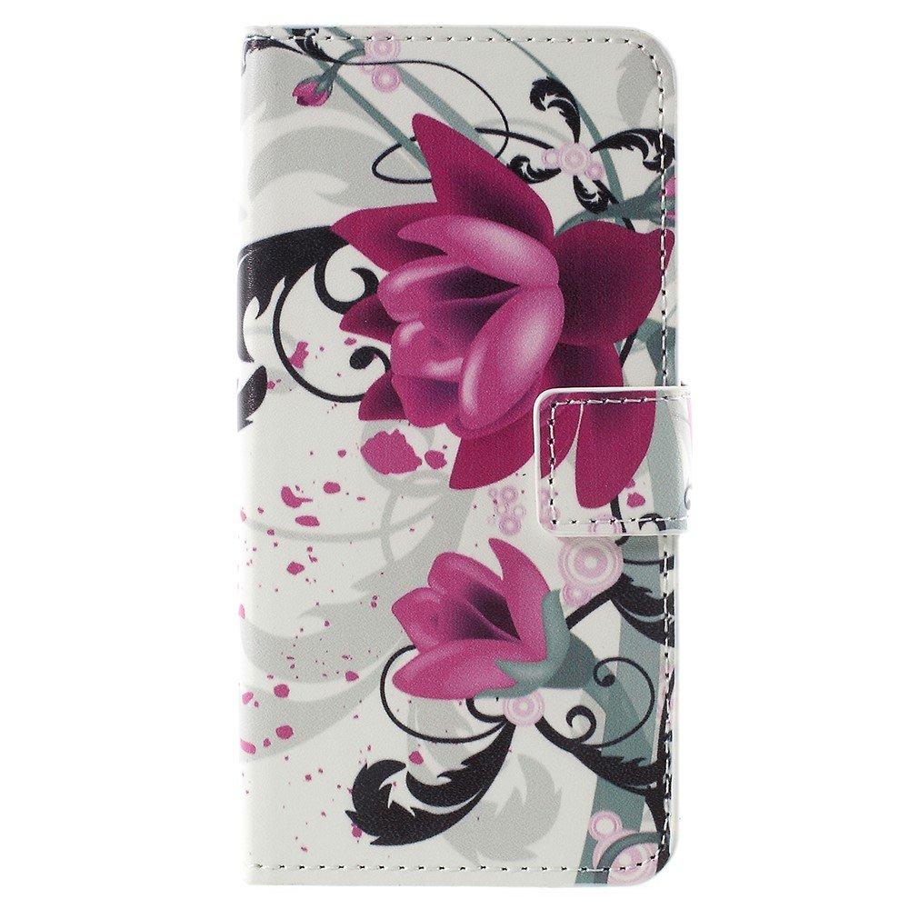 Billede af Sony Xperia XZ1 Compact PU læder Flipcover m. Kortholder - Purple Flower