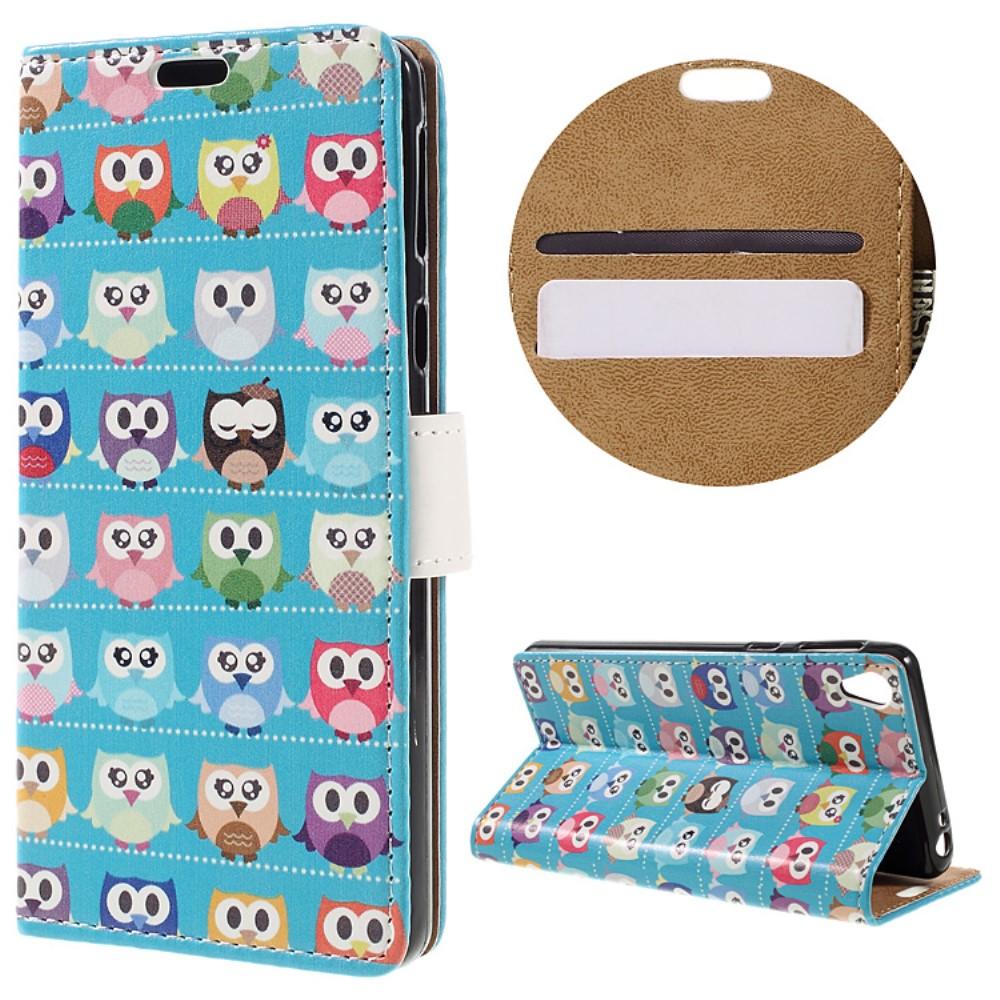 Billede af Sony Xperia E5 PU læder FlipCover m. Stand og Kortholder - Mini Owls Cyan