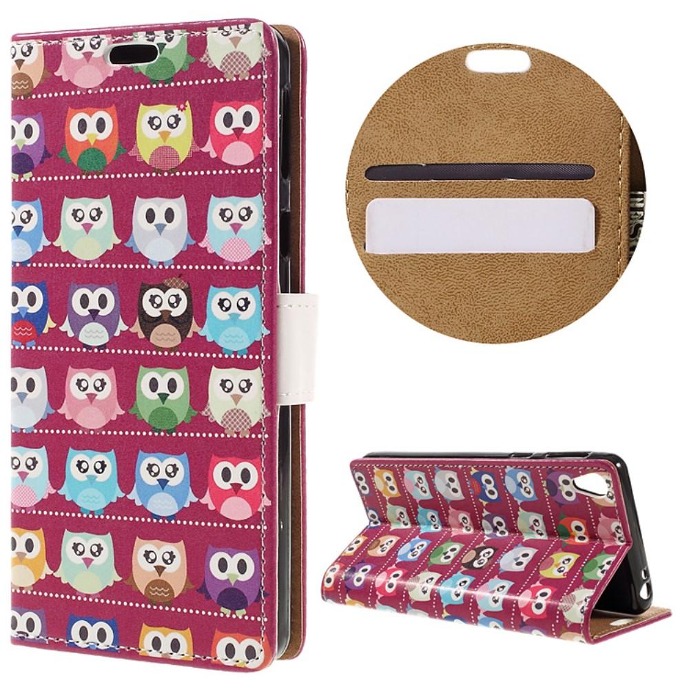 Billede af Sony Xperia E5 PU læder FlipCover m. Stand og Kortholder - Mini Owls Purple