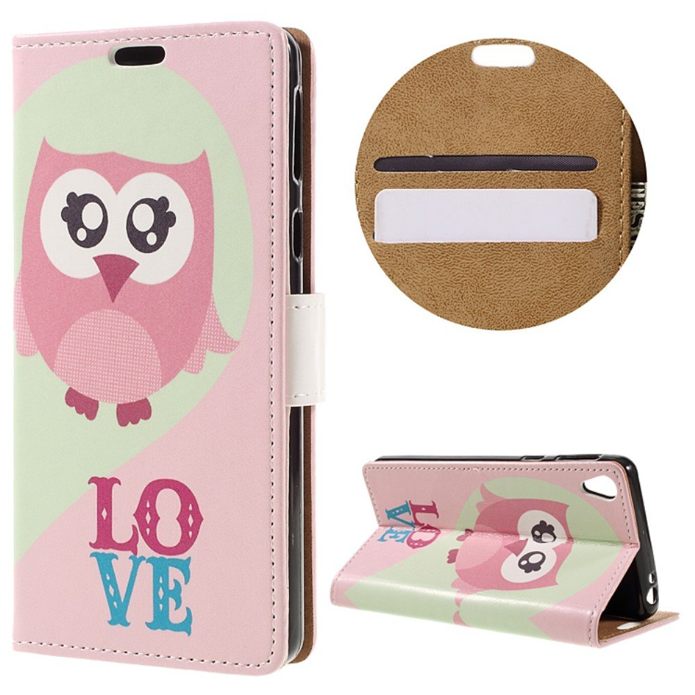 Billede af Sony Xperia E5 PU læder FlipCover m. Stand og Kortholder - Owl and Love