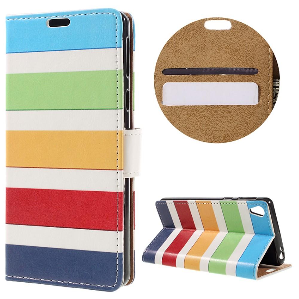 Billede af Sony Xperia E5 PU læder FlipCover m. Stand og Kortholder - Colorized Stripes