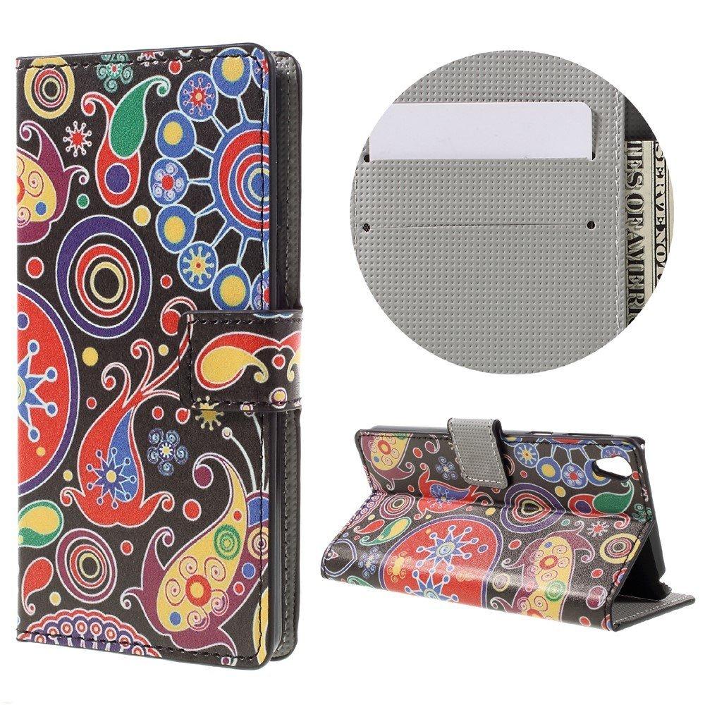 Billede af Sony Xperia E5 PU læder FlipCover m. Stand og Kortholder - Paisley Pattern