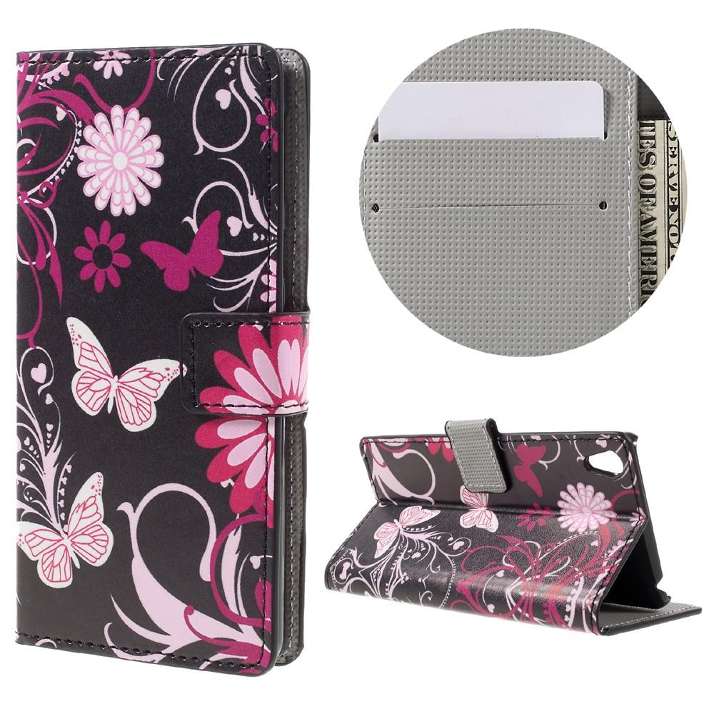 Billede af Sony Xperia E5 PU læder FlipCover m. Stand og Kortholder - Butterfly and Flower