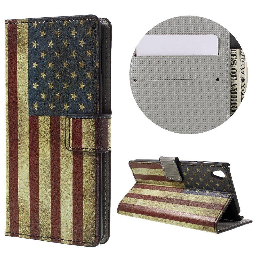 Billede af Sony Xperia E5 PU læder FlipCover m. Stand og Kortholder - Retro US Flag