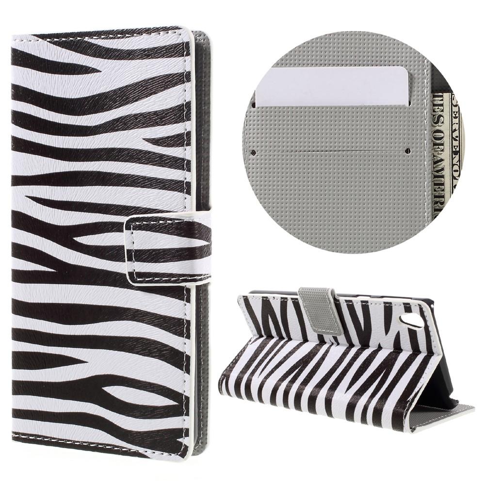Billede af Sony Xperia E5 PU læder FlipCover m. Stand og Kortholder - Zebra