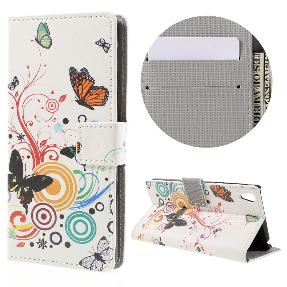 Billede af Sony Xperia E5 PU læder FlipCover m. Stand og Kortholder - Butterfly and Circle