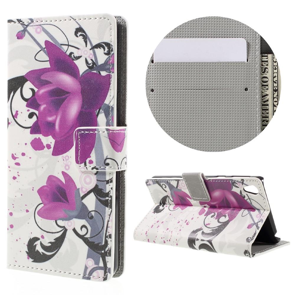 Billede af Sony Xperia E5 PU læder FlipCover m. Stand og Kortholder - Purple Flower