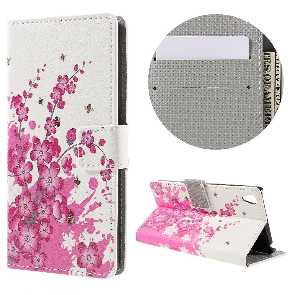 Billede af Sony Xperia E5 PU læder FlipCover m. Stand og Kortholder - Plum Blossom