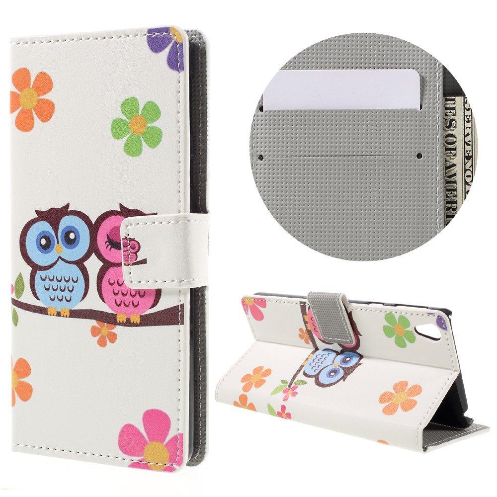 Billede af Sony Xperia E5 PU læder FlipCover m. Stand og Kortholder - Owl Couple