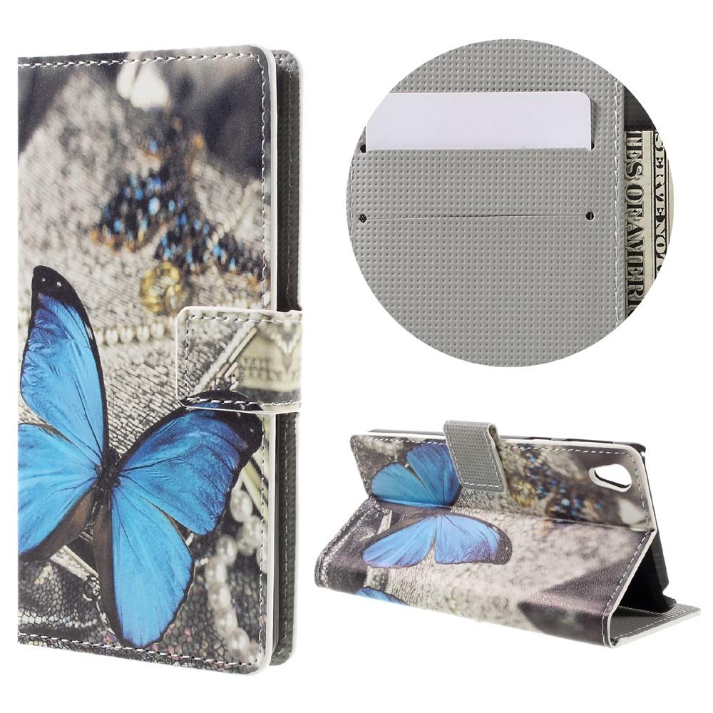 Billede af Sony Xperia E5 PU læder FlipCover m. Stand og Kortholder - Blue Butterfly