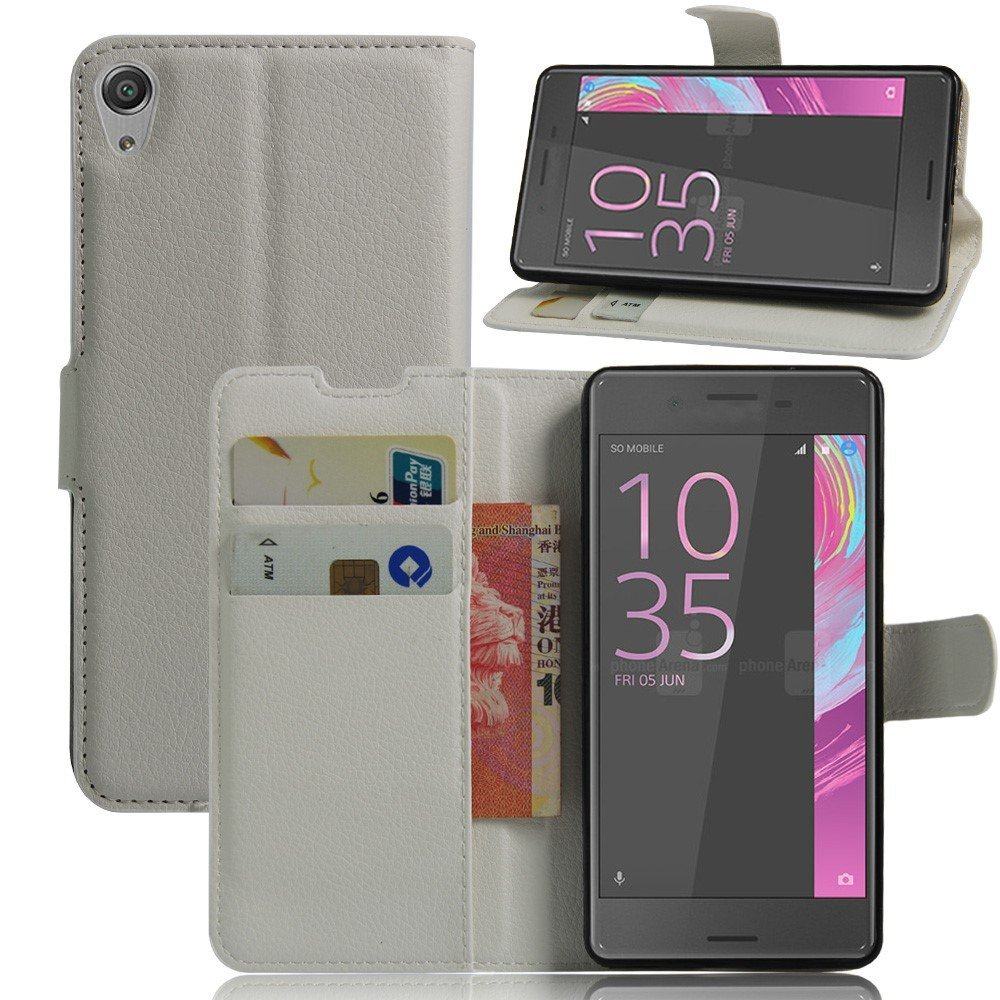 Billede af Sony Xperia E5 Litchi FlipCover i PU læder m. Stand og Kortholder - Hvid