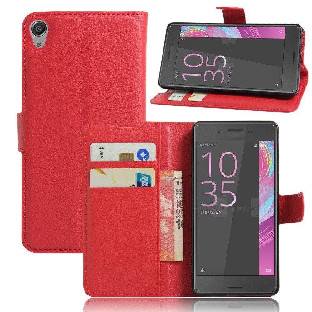 Billede af Sony Xperia E5 Litchi FlipCover i PU læder m. Stand og Kortholder - Rød