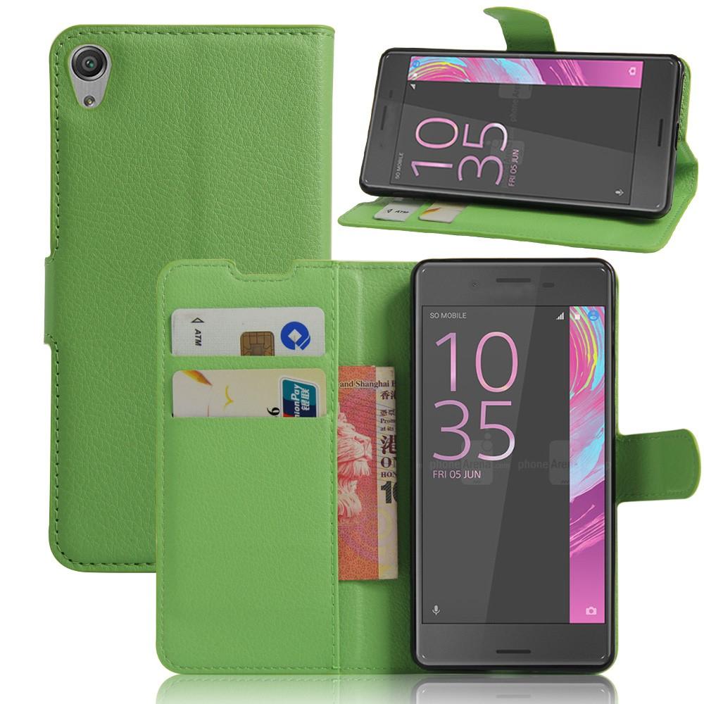 Billede af Sony Xperia E5 Litchi FlipCover i PU læder m. Stand og Kortholder - Grøn