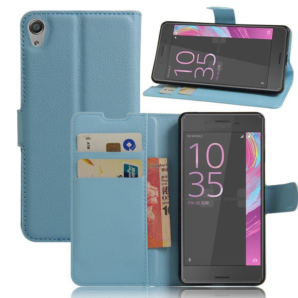 Billede af Sony Xperia E5 Litchi FlipCover i PU læder m. Stand og Kortholder - Blå
