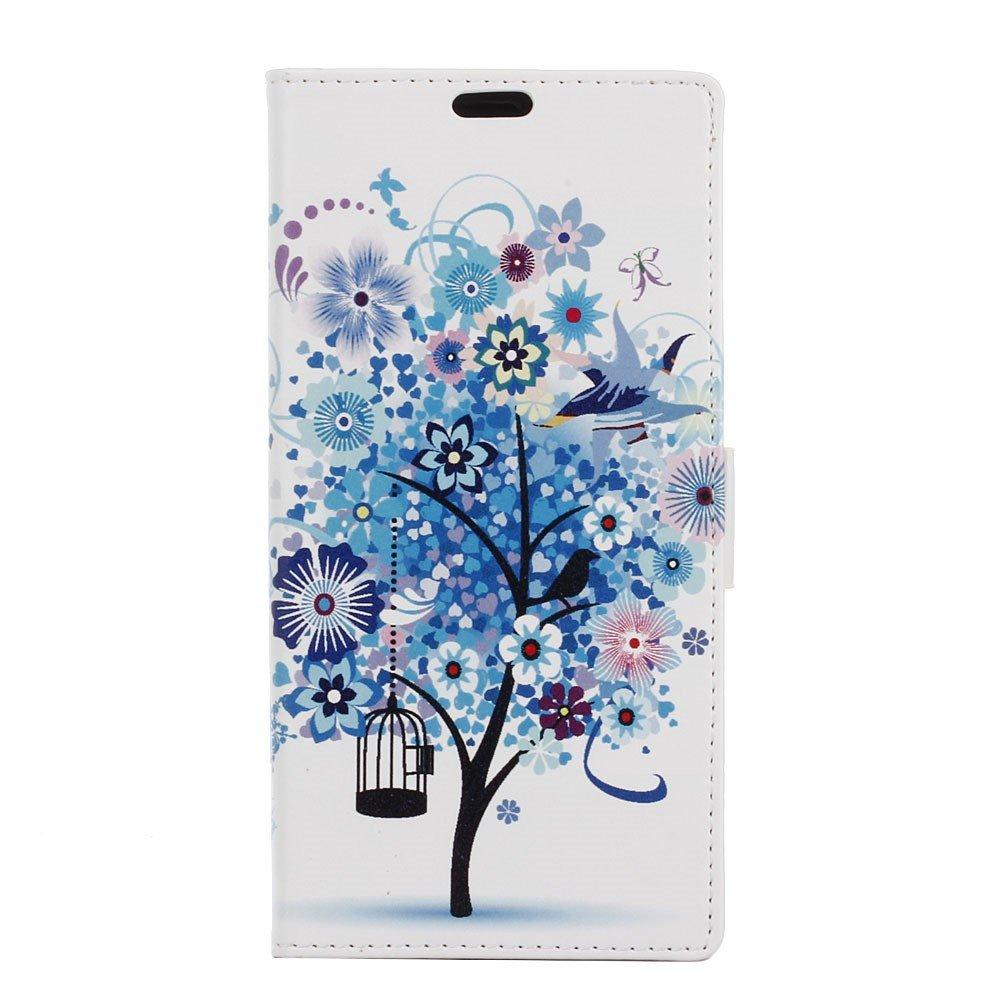 Billede af Sony Xperia XZ PU læder FlipCover m. Kortholder - Blue Tree