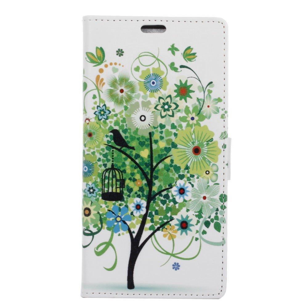 Billede af Sony Xperia XZ PU læder FlipCover m. Kortholder - Green Tree