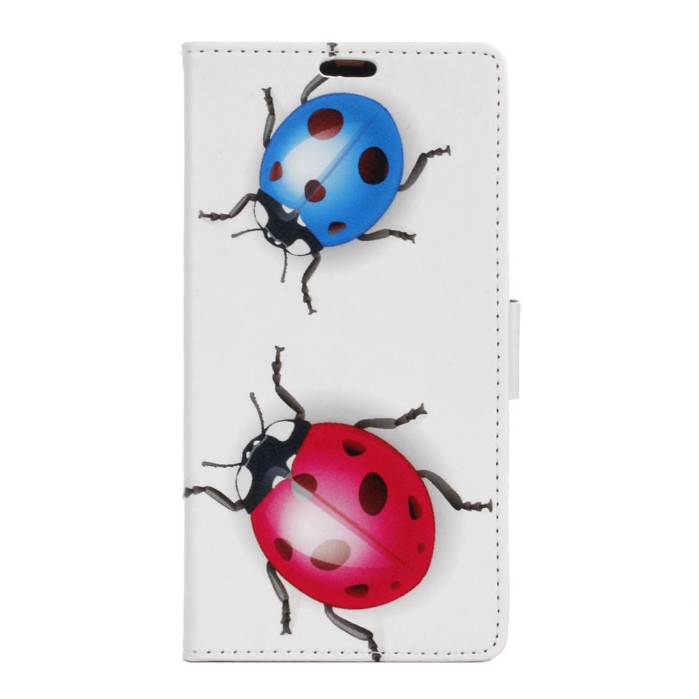 Billede af Sony Xperia XZ PU læder FlipCover m. Kortholder - Colorized Ladybug