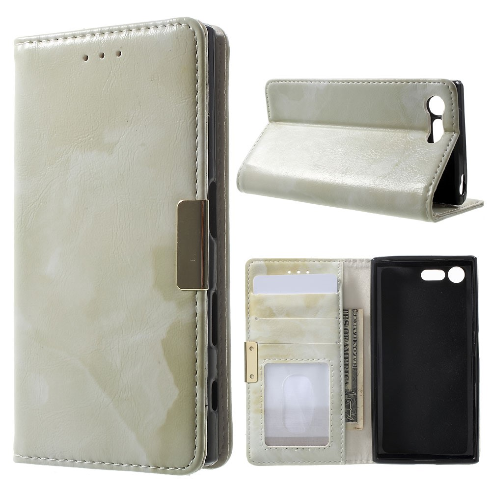 Image of Sony Xperia X Compact PU Læder FlipCover m. Stand - Grøn Marmor