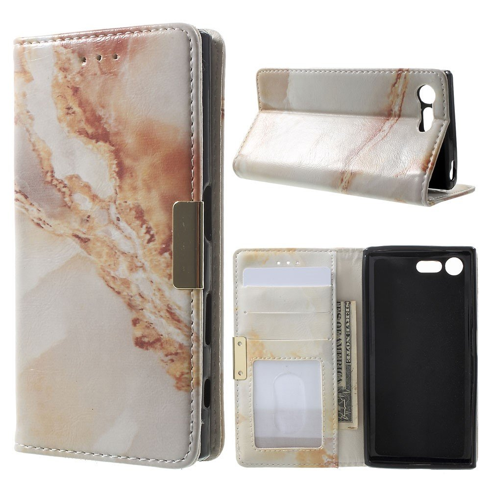 Image of Sony Xperia X Compact PU Læder FlipCover m. Stand - Brun Marmor