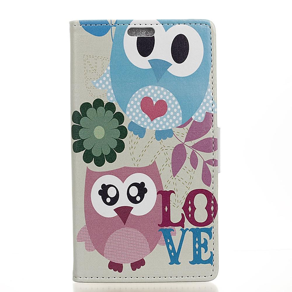 Billede af Sony Xperia XZ Premium PU læder Flipcover m. Kortholder - Ugler og ordet Love