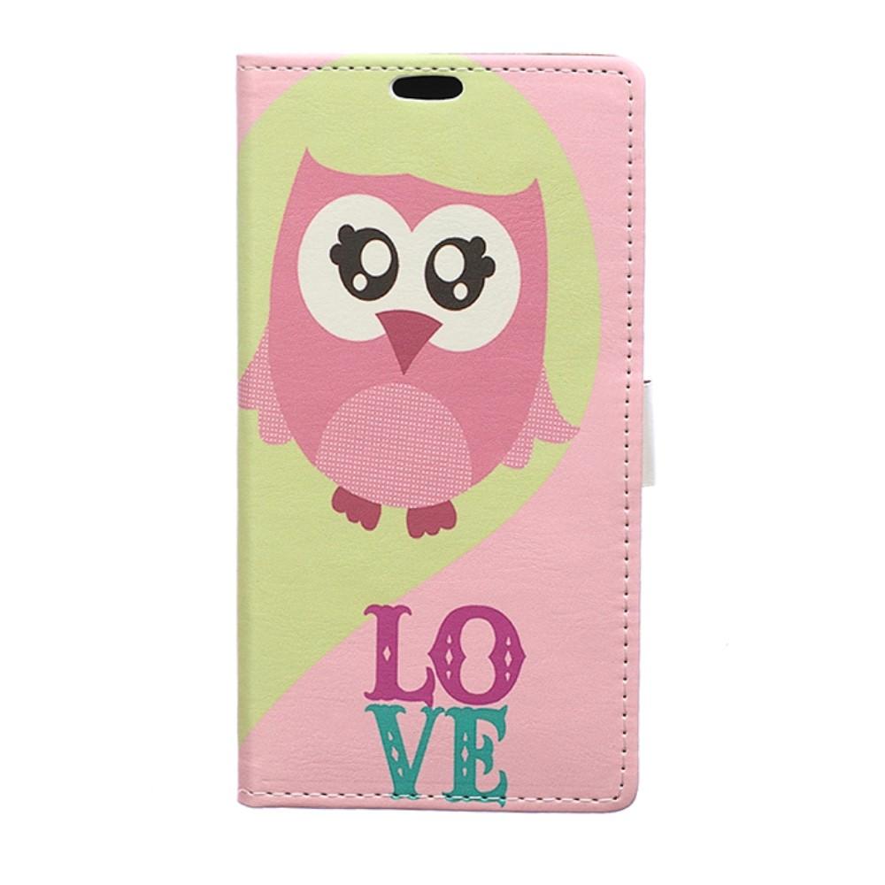 Billede af Sony Xperia XZ Premium PU læder Flipcover m. Kortholder - En ugle og ordet Love