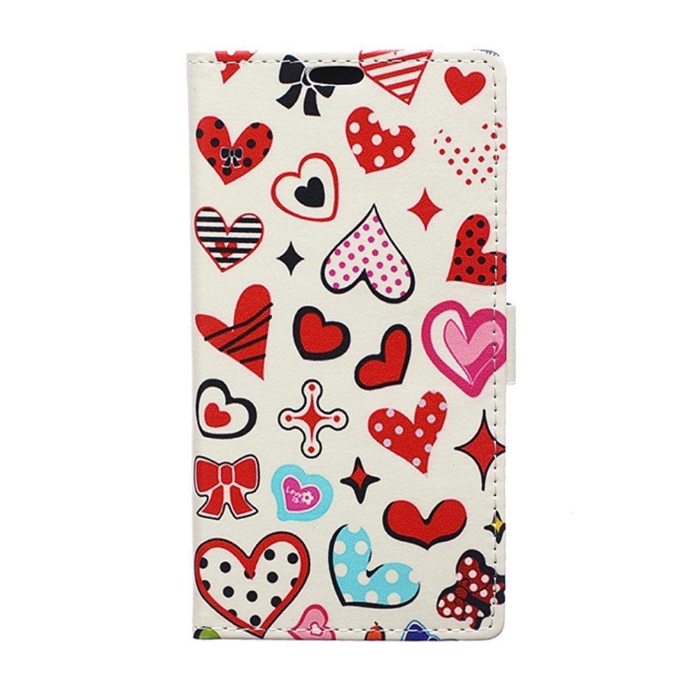Billede af Sony Xperia XZ Premium PU læder Flipcover m. Kortholder - Hearts and Dots