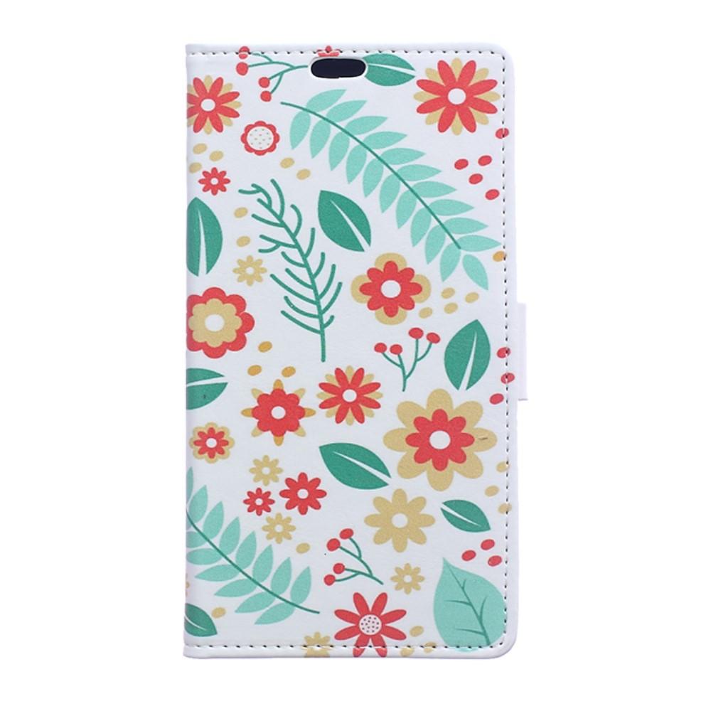 Billede af Sony Xperia XZ Premium PU læder Flipcover m. Kortholder - Flowers and Leaves