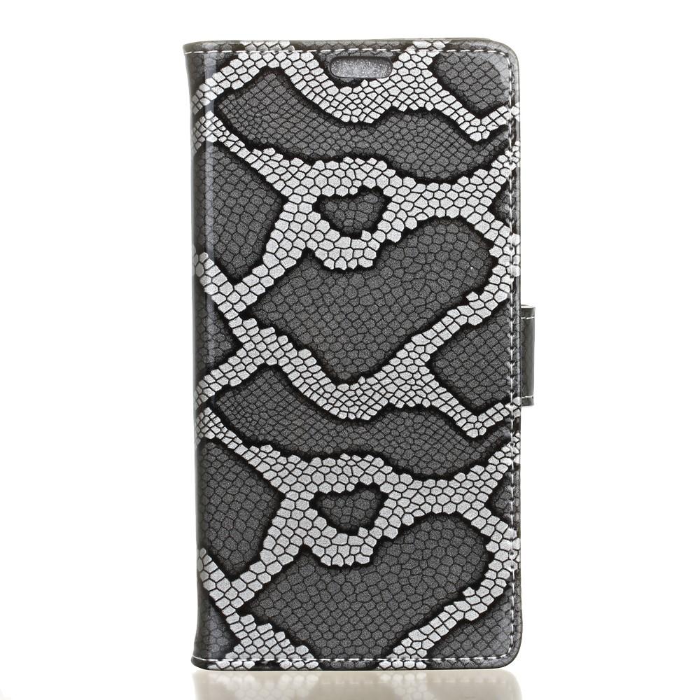Billede af LG V20 PU læder FlipCover m. Slangelook - Sølv