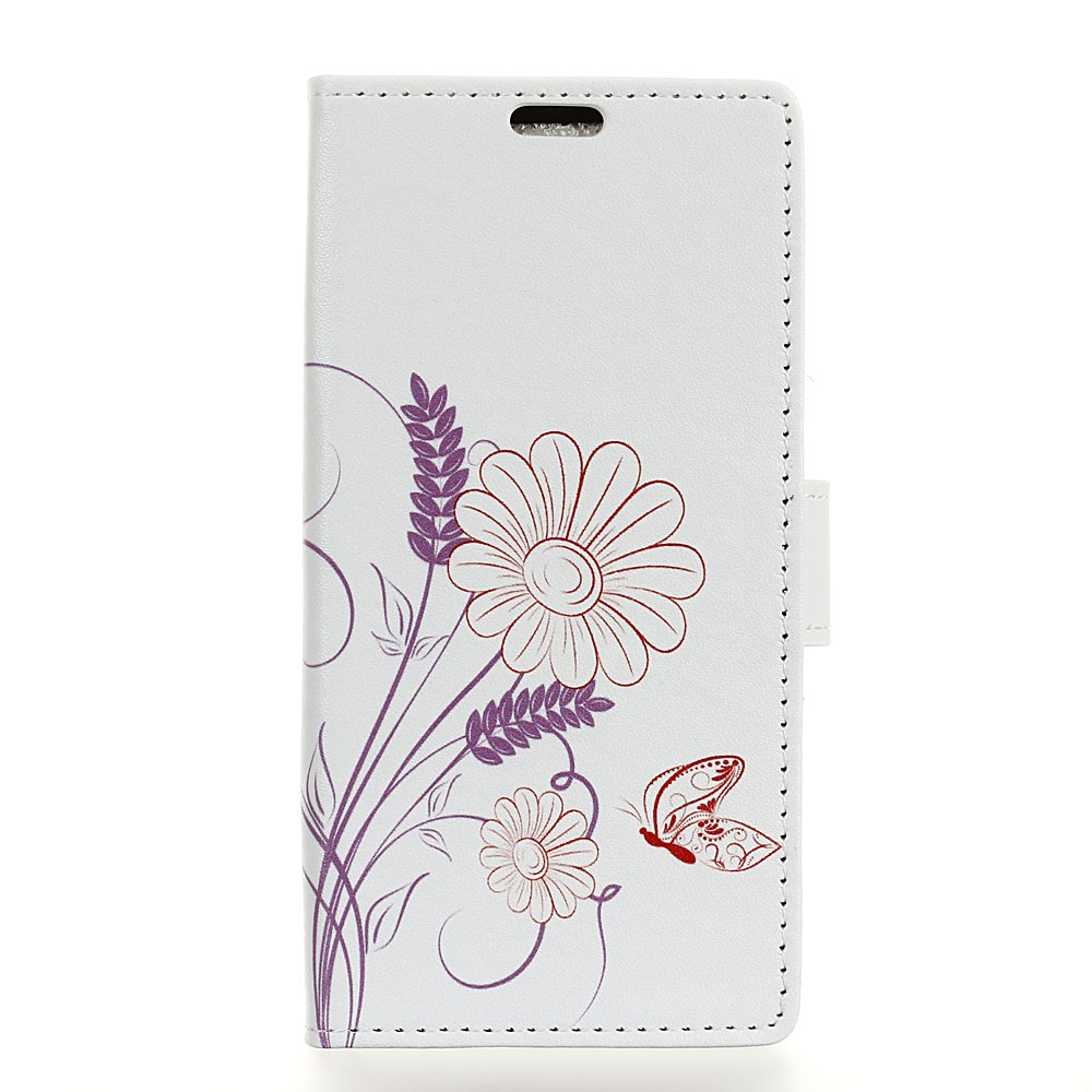 Image of HTC U11 Plus Design Flip Cover med Pung - Flower and Butterfly