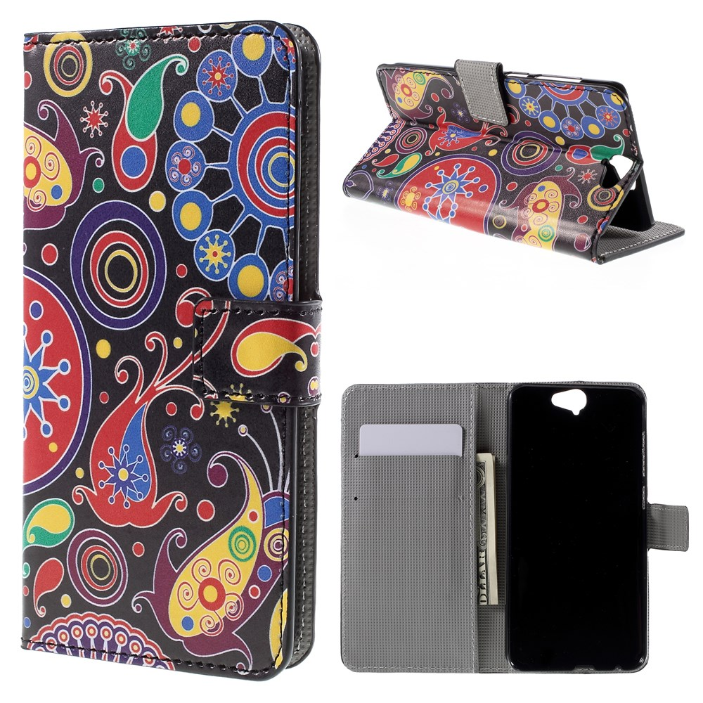 Image of HTC One A9 Design Flip Cover m. Stand - Paisley Flowers
