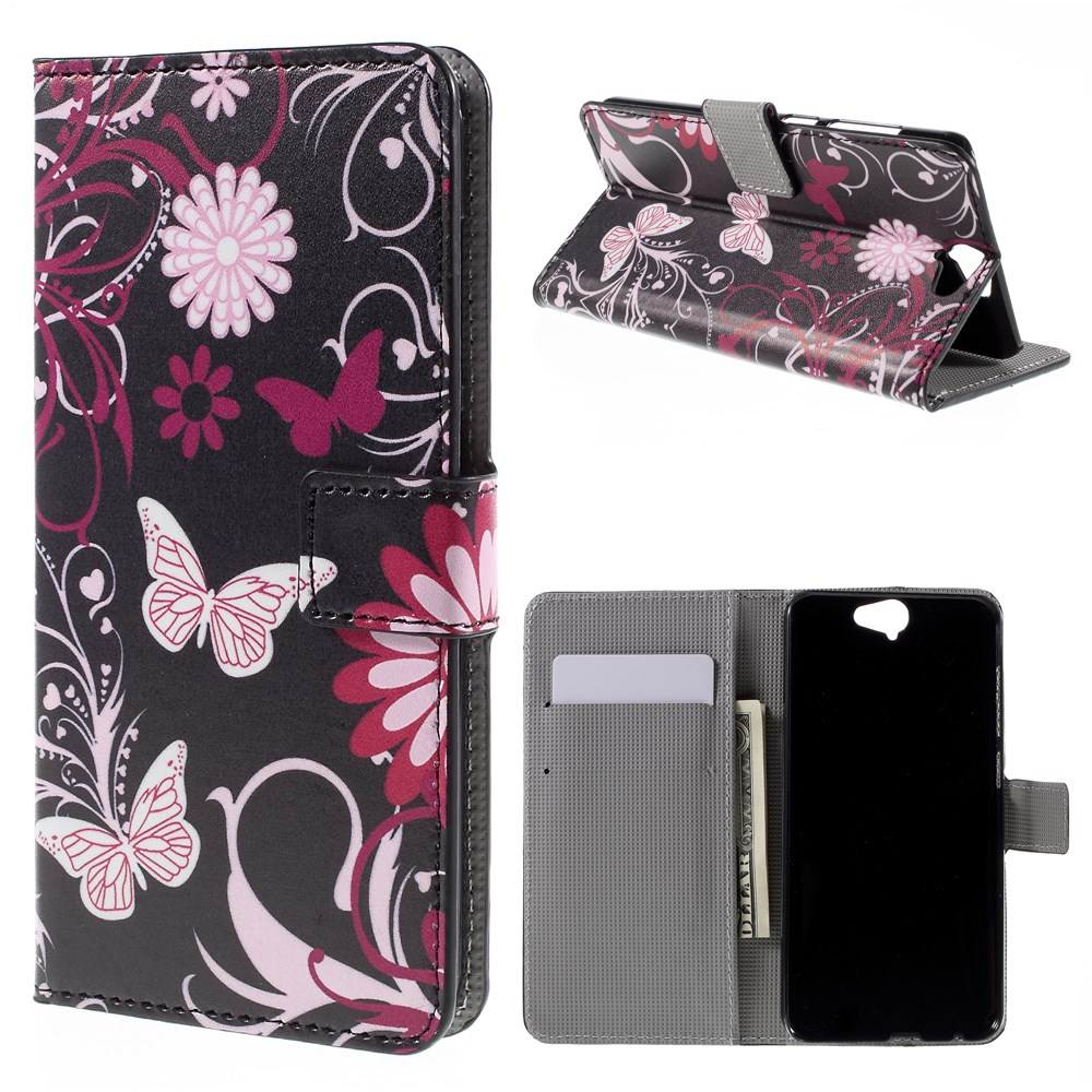 Image of HTC One A9 Design Flip Cover m. Stand - Butterfly Flowers
