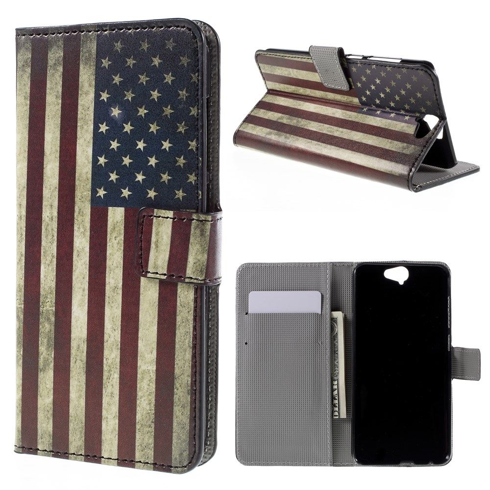 Image of HTC One A9 Design Flip Cover m. Stand - Stars & Stripes