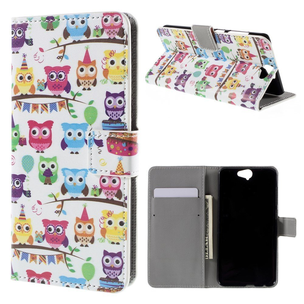 Image of HTC One A9 Design Flip Cover m. StandMultiple Owls