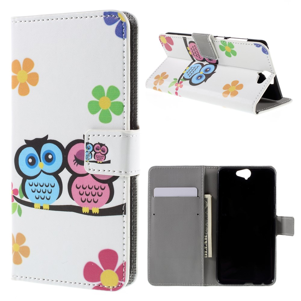 Image of HTC One A9 Design Flip Cover m. Stand - Owl Couple