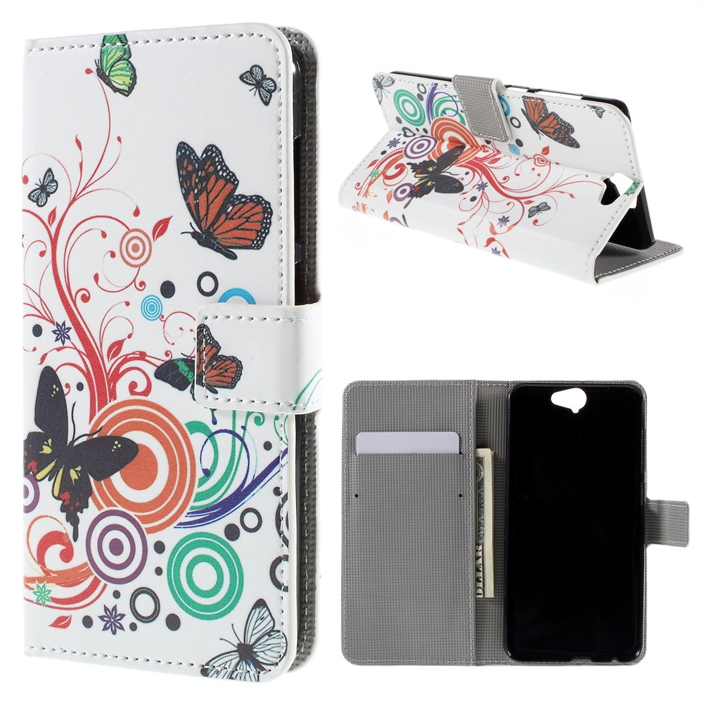 Image of HTC One A9 Design Flip Cover m. Stand - Butterfly Circles