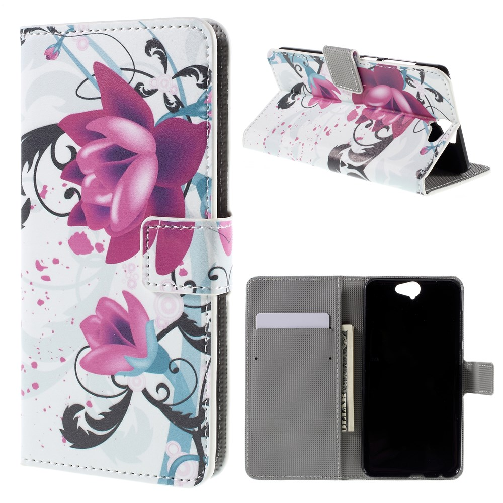 Image of HTC One A9 Design Flip Cover m. Stand - Purple Flowers