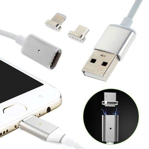 Image of   2 i 1 magnetisk 8-pin Lightning/Micro USB Oplade - og Datakabel - Sølv