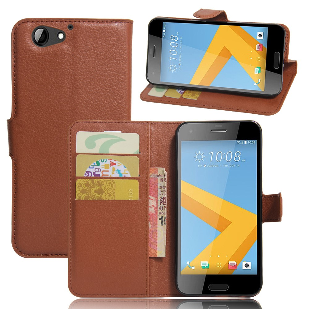Image of HTC One A9s Litchi Flip Cover Med Pung - Brun