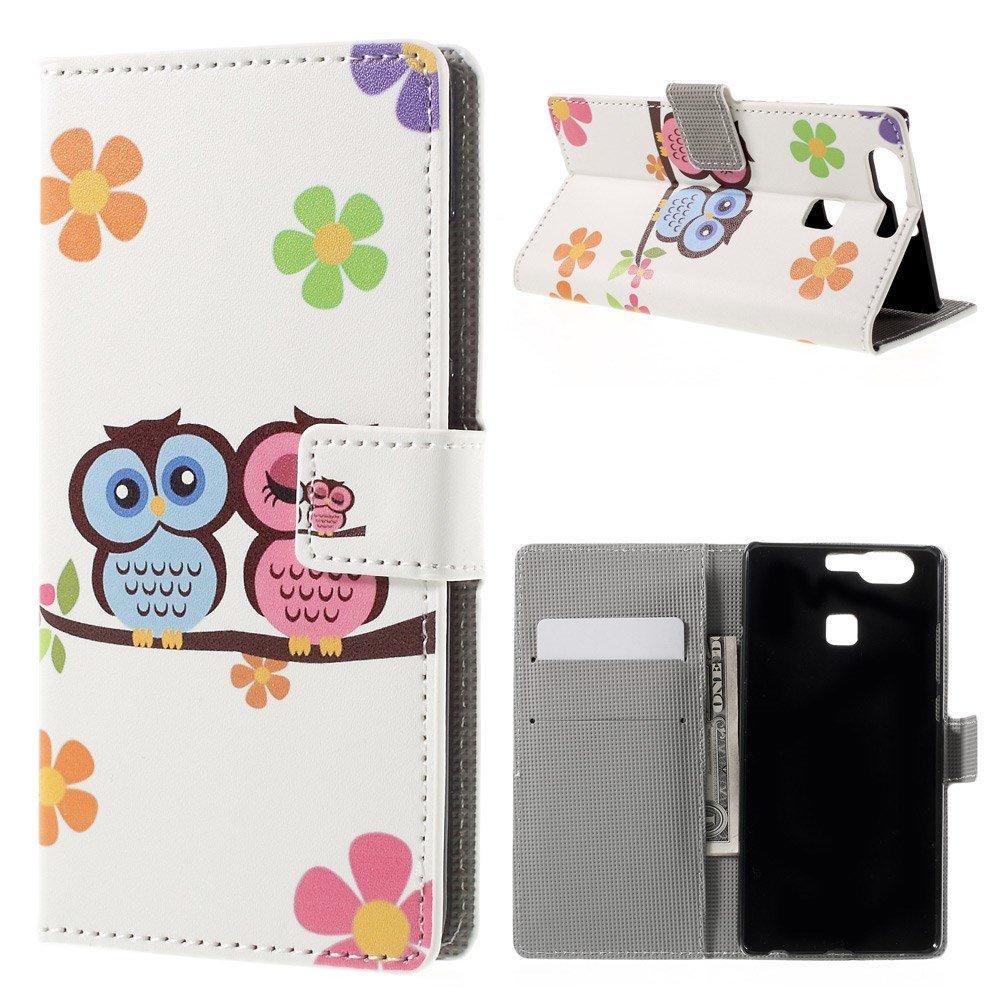 Image of   Huawei P9 Læder Design Flip Cover M. Stand og Kortholder - Owl Couple and Flowers