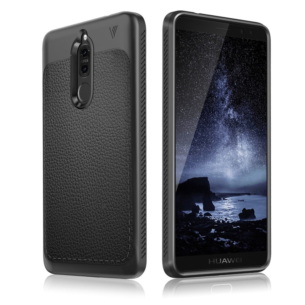 Billede af Huawei Mate 10 Lite IVSO TPU Cover Med Læderoverflade - Sort