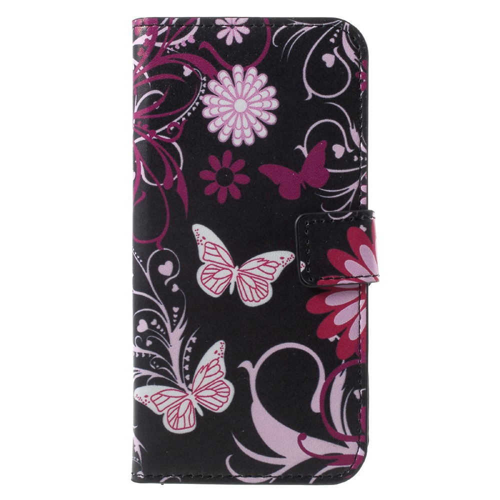 Image of Huawei P9 Lite Mini Design Flip Cover med Pung - Butterfly and Flower