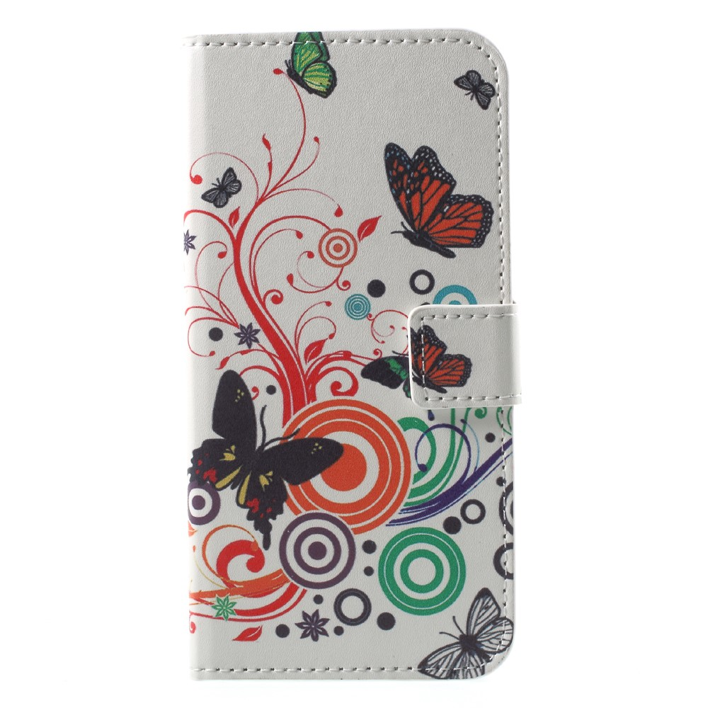 Image of Huawei P9 Lite Mini Design Flip Cover med Pung - Butterflies and Circles