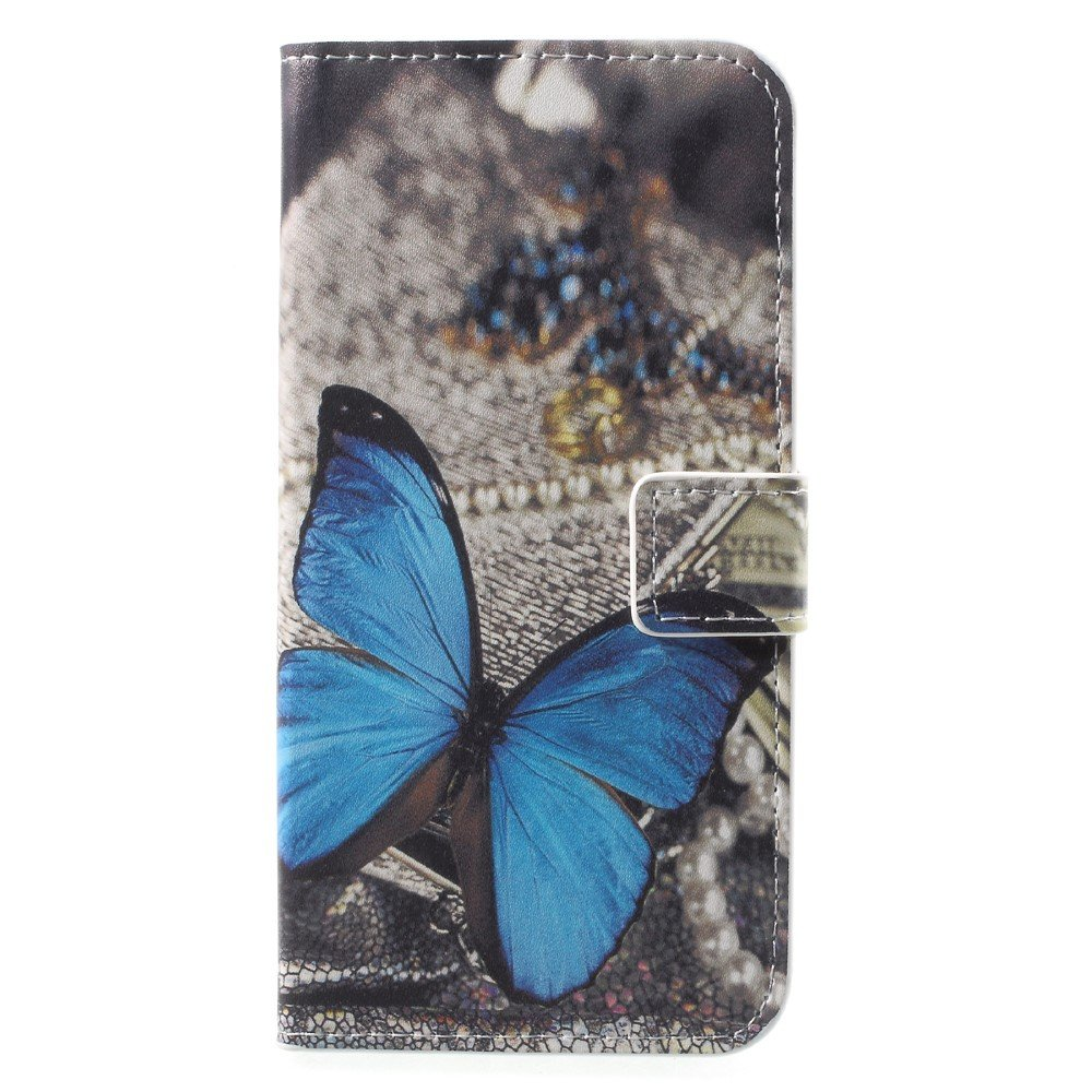Image of Huawei P9 Lite Mini Design Flip Cover med Pung - Blue Butterfly