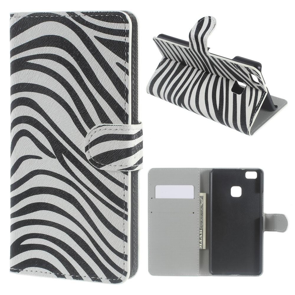 Billede af Huawei P9 Lite PU læder FlipCover m. Kortholder - Zebra