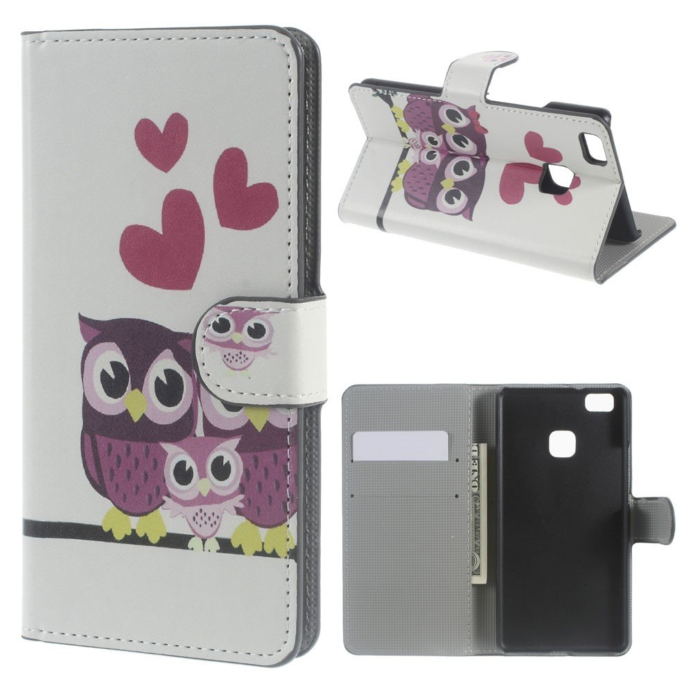 Billede af Huawei P9 Lite PU læder FlipCover m. Kortholder - Owl Family